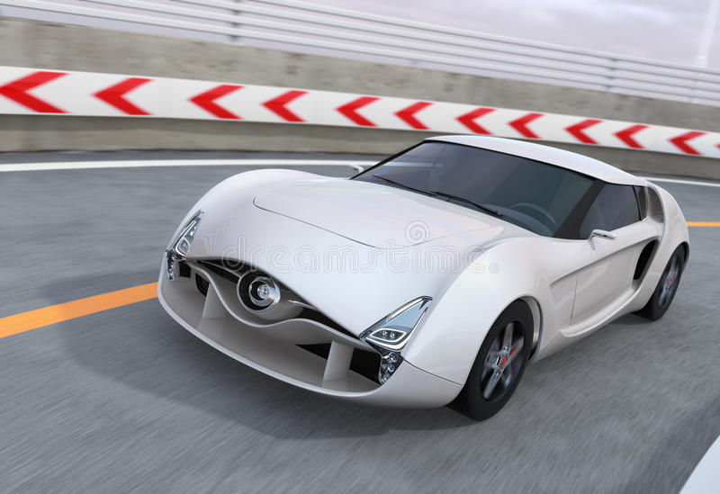 White sports car on highway. 3D rendering image royalty free illustration