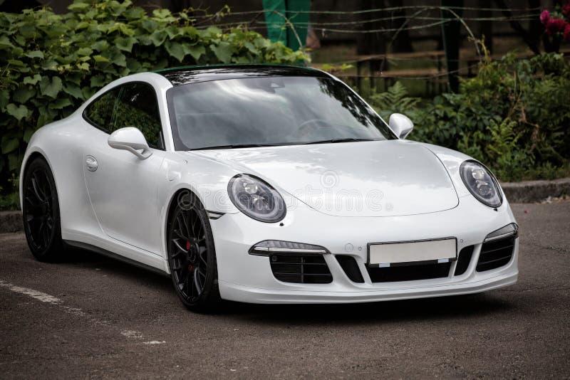 White sports car stock image