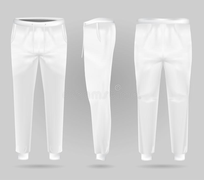 White sports trousers. Sports sweatpants design template. royalty free illustration
