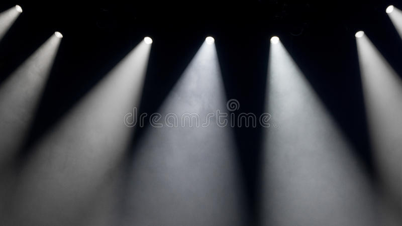 White spot lights on stage. With smoke royalty free stock photography