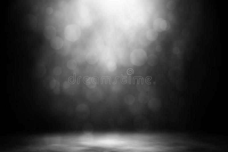 White spotlight bokeh smoke nightclub entertainment. royalty free stock image