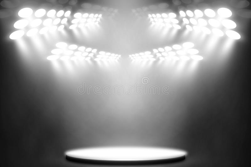 White spotlight on stage entertainment background, White lamp background stock images