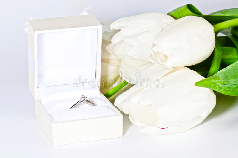 Download White Spring Tulips With Box With Diamond Ring Stock Image - Image: 29732543
