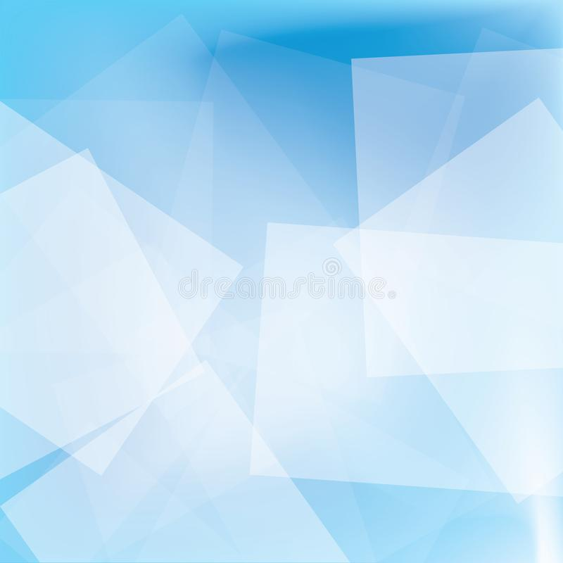 White square abstract on blue background stock photography
