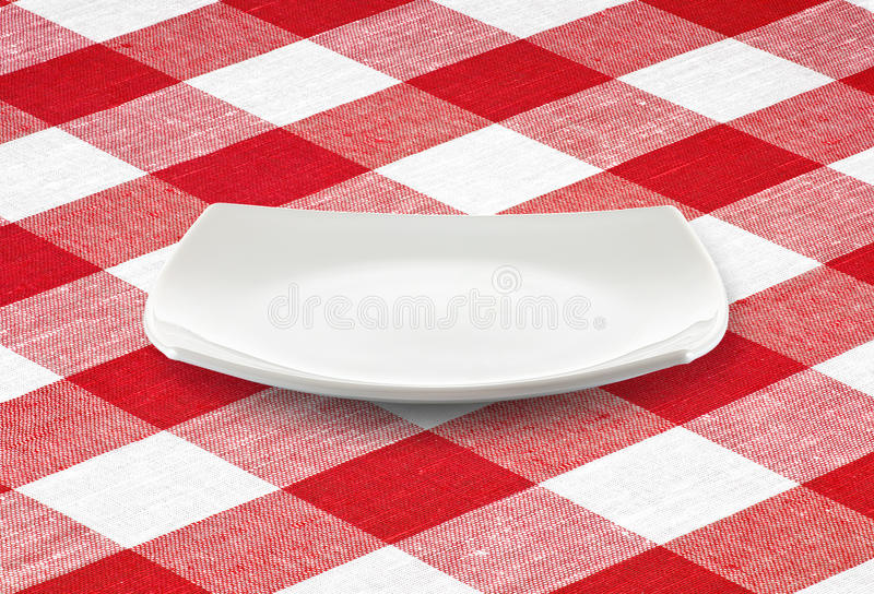 Download White Square Empty Plate On Red Gingham Tablecloth Stock Image - Image of picnic, more: 22269577