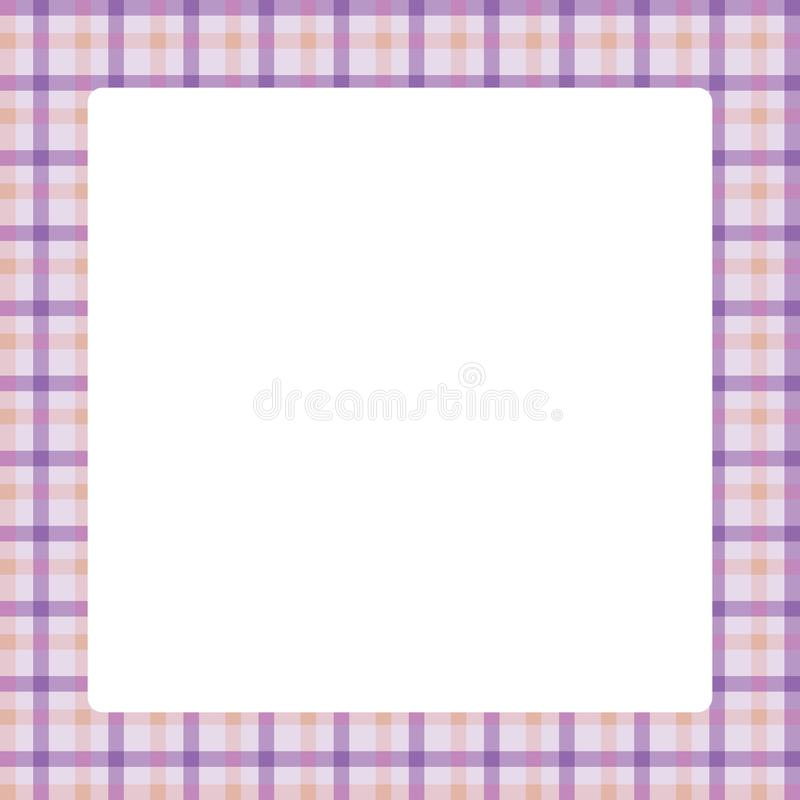 White square frame plaid pattern trendy purple color pastel soft background, square frame for summer sale banner and advertising royalty free illustration