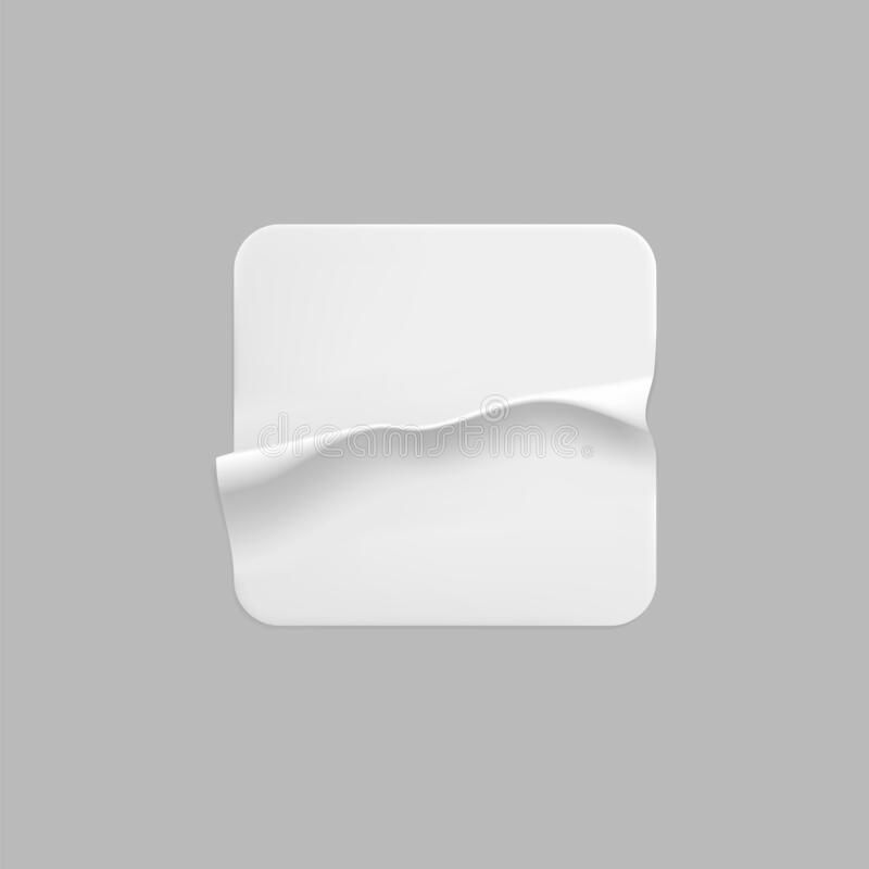 White Square Glued Stickers With Curled Corners Mock Up Set  Blank White Adhesive Square Paper