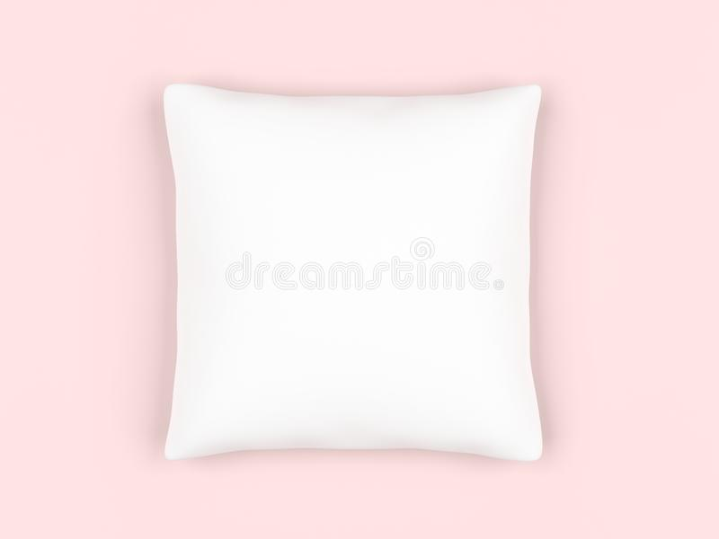 White square pillow isolated on pink background. 3d illustration royalty free illustration