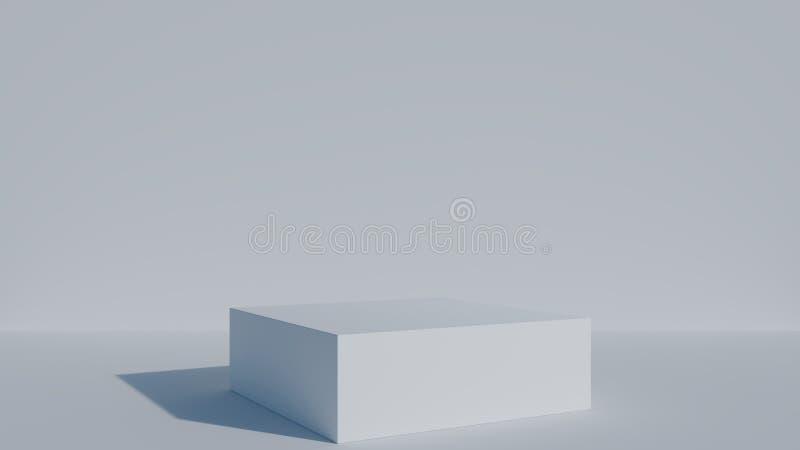 White square podium for presentations in white lit studio. 3D render. vector illustration