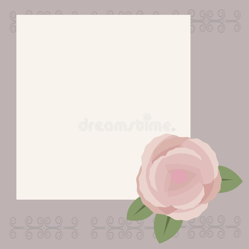 White square sheet for writing or congratulation on a light gray background with a pattern, pink-brown tea rose with green leaves vector illustration