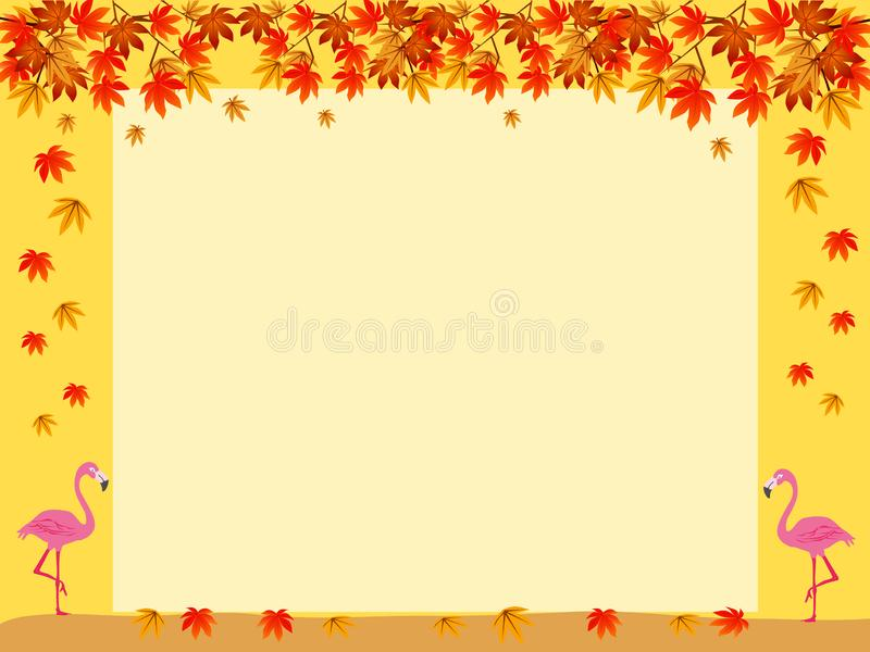 The white square is surrounded by colorful leaves. stock images
