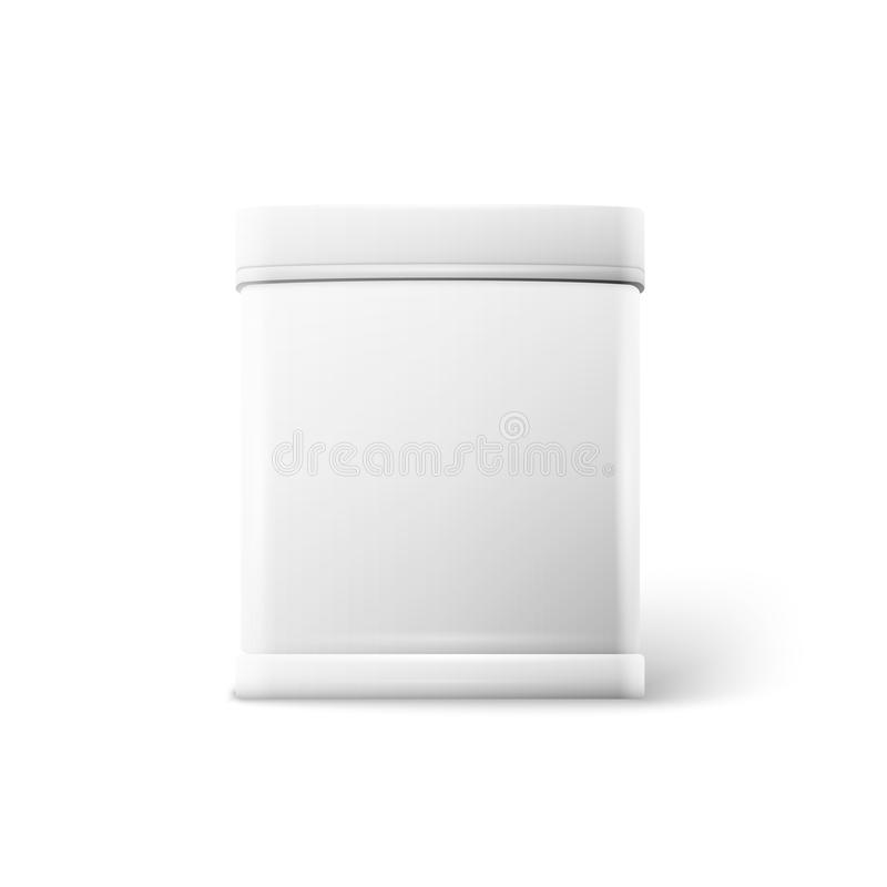 White square tin packaging Tea coffee dry products. Vector object. White square tin packaging. Tea coffee dry products. Place your design stock illustration