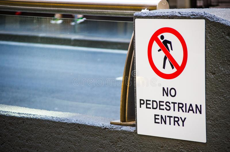 White Square warning sign ` No pedestrian entry` royalty free stock photo