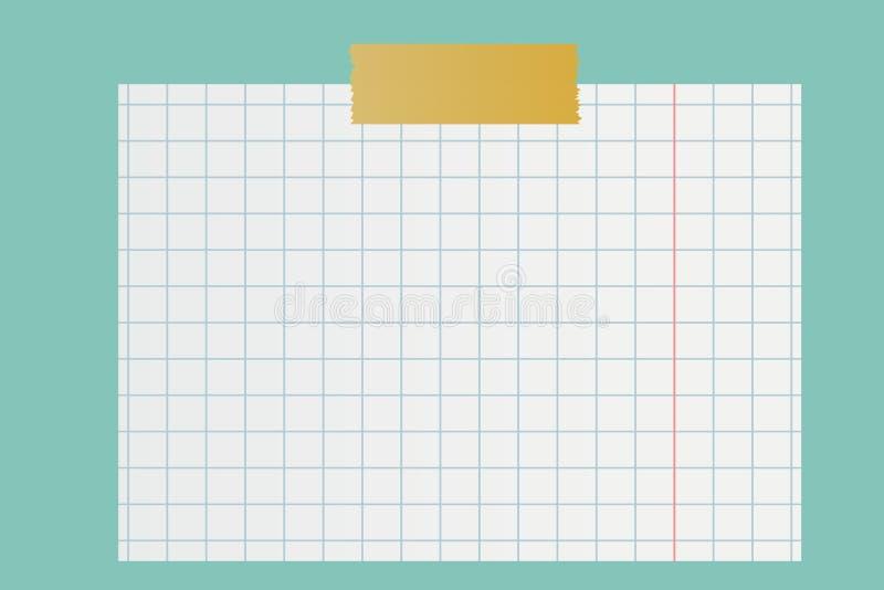 White squared paper sheet on blue background . Illustration design royalty free stock images