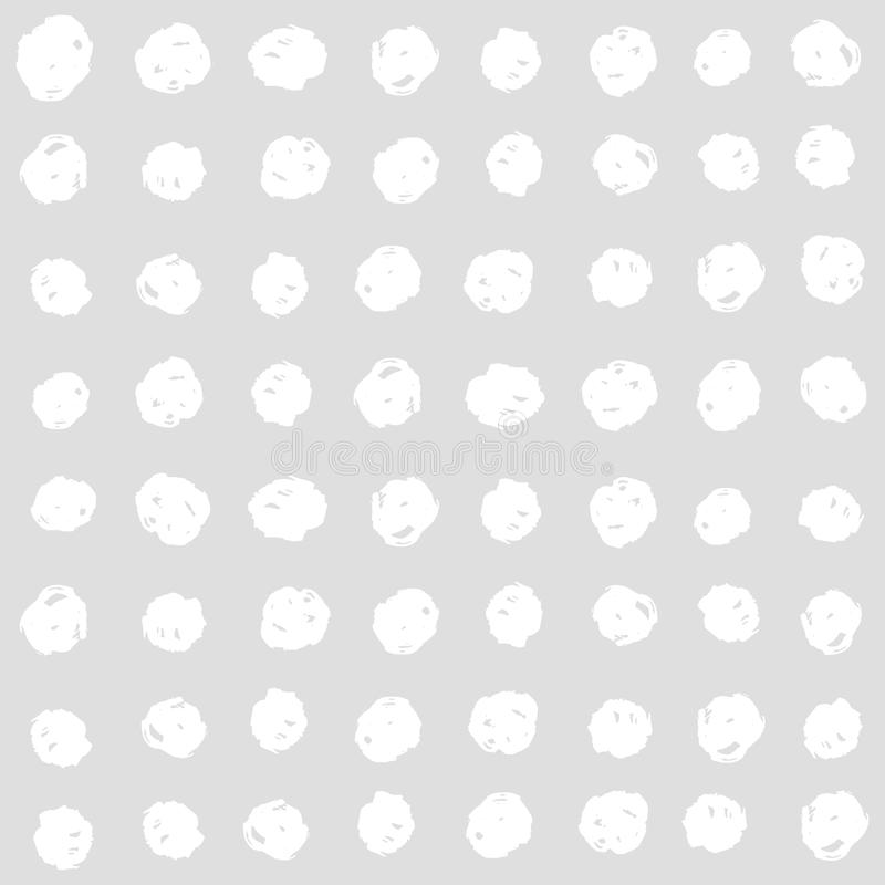 White squares on a grey background. Vector hand drawn seamless pattern stock illustration