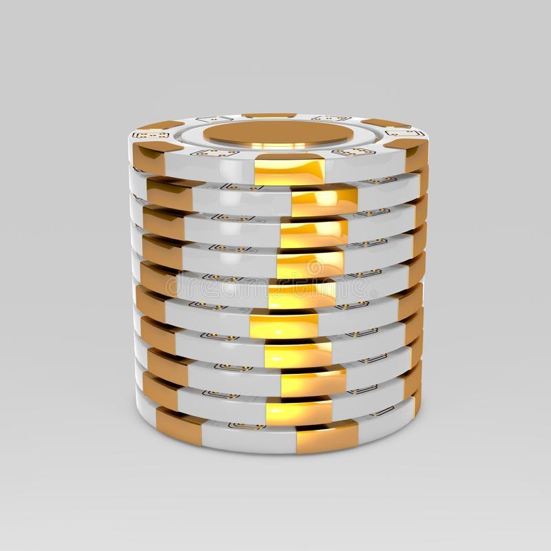White stacked poker chips. Classic casino game 3D tokens isolated on white stock illustration