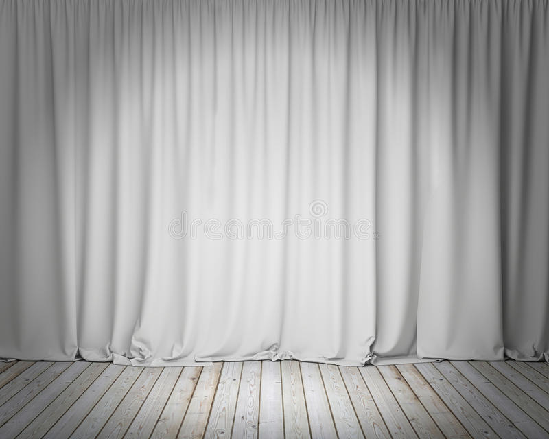 White stage curtain with wooden floor, background vector illustration