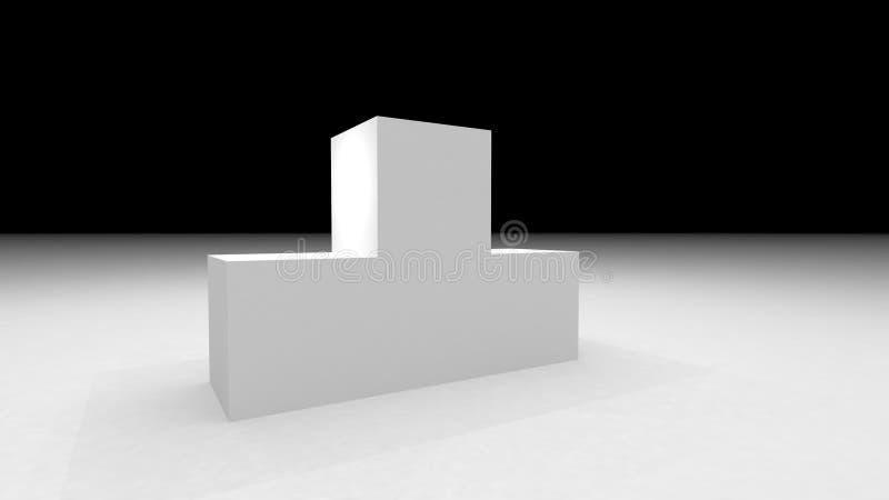 White stage podium. Scene for award ceremony. stock image