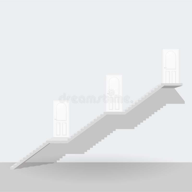 White stair up to three steps door business concept stock illustration