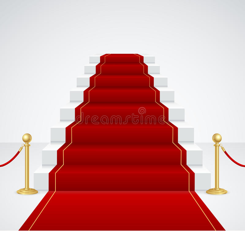 White Staircase and Red Carpet. Vector. White Staircase and Red Carpet. Success Concept. Vector illustration royalty free illustration