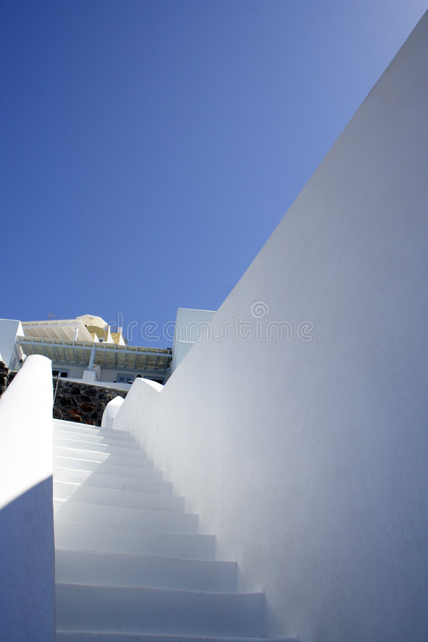 White stairs at Santorini island, Greece. stock images