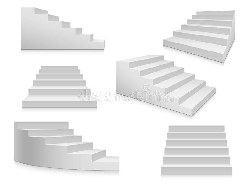 White stairs. Staircase, 3d stairway, interior staircases isolated. Steps ladder architecture element vector collection. White stairs. Staircase isolated, 3d vector illustration