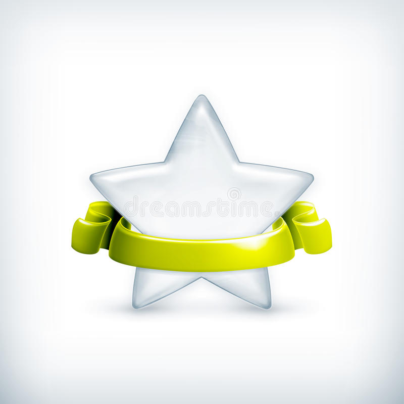 White star, award. Computer illustration on white background stock illustration