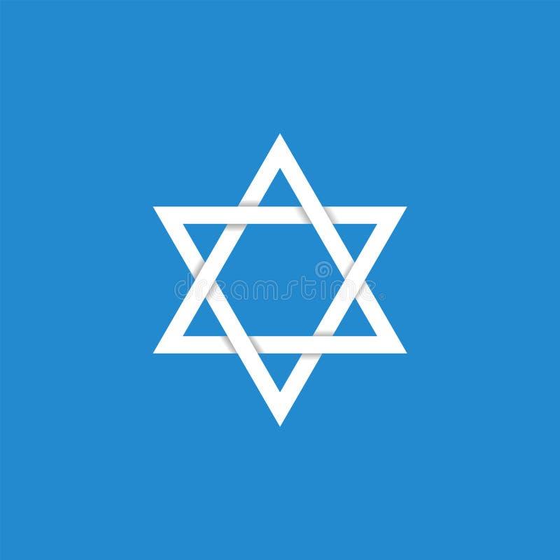 Star of David icon. White Star of David icon. Generally recognized symbol of modern Jewish identity and Judaism, Israel symbol vector illustration