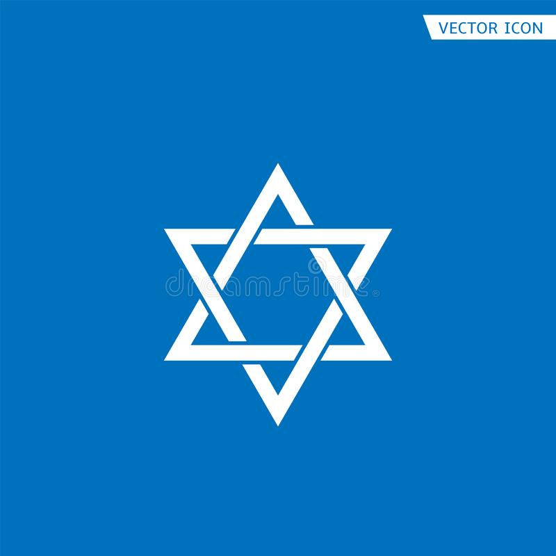 Star of David icon. White Star of David icon. Generally recognized symbol of modern Jewish identity and Judaism, Israel symbol royalty free illustration