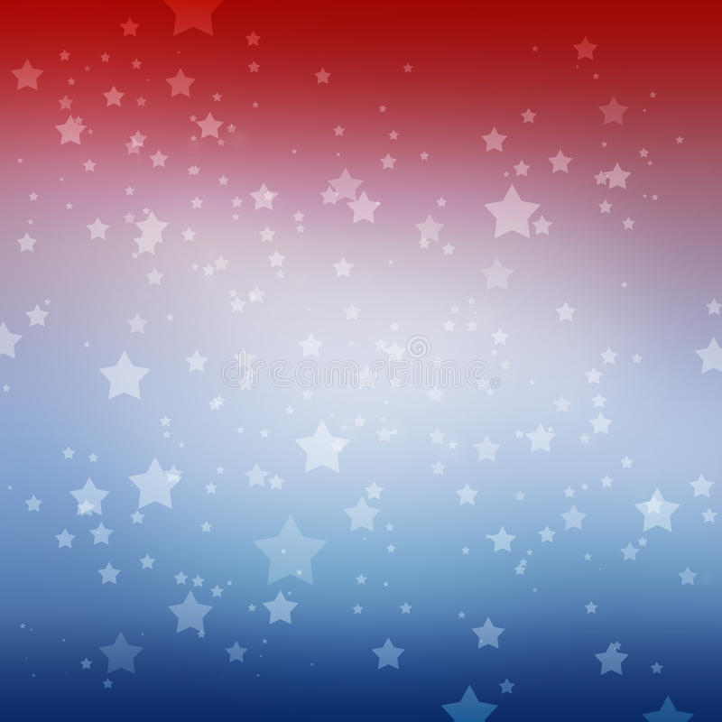 White stars on red white and blue stripes background. Patriotic July 4th Memorial day or Election vote design. White stars twinkling on red white and blue soft vector illustration