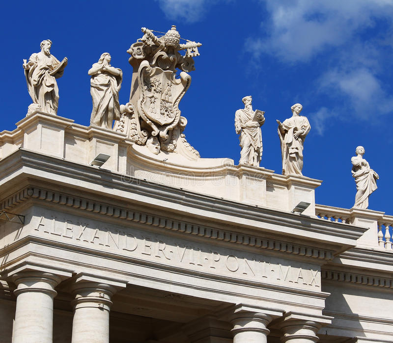 Download White Statues On Top Of Vatican Building, Blue Sky Stock Image - Image of catholic, building: 84623131