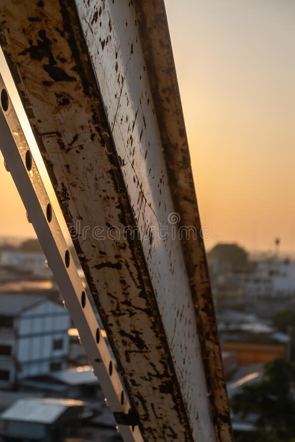 White steel structure on Sky at sunset. Beautiful sky royalty free stock photo
