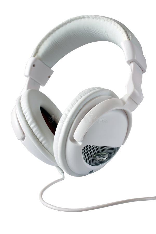 White stereo headphones stock photography