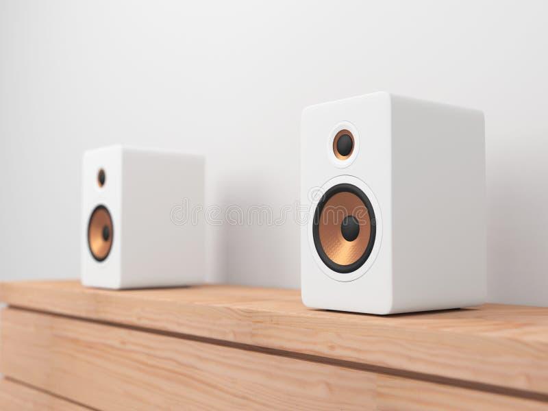 White stereo Speakers on shel vector illustration