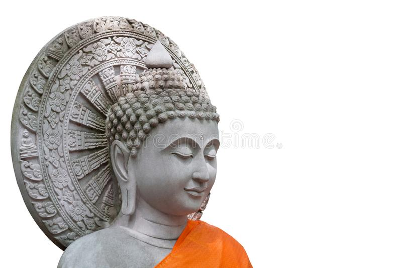 The White Stone Buddha white background with clipping path. Head buddha stock photos