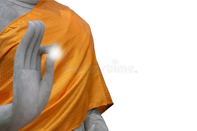 The White Stone Buddha raise hand with clipping path , isolated royalty free stock image