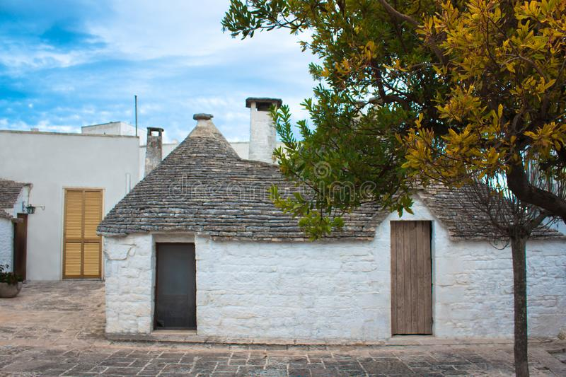 Download White Stone Houses With Garden In Italy Stock Image