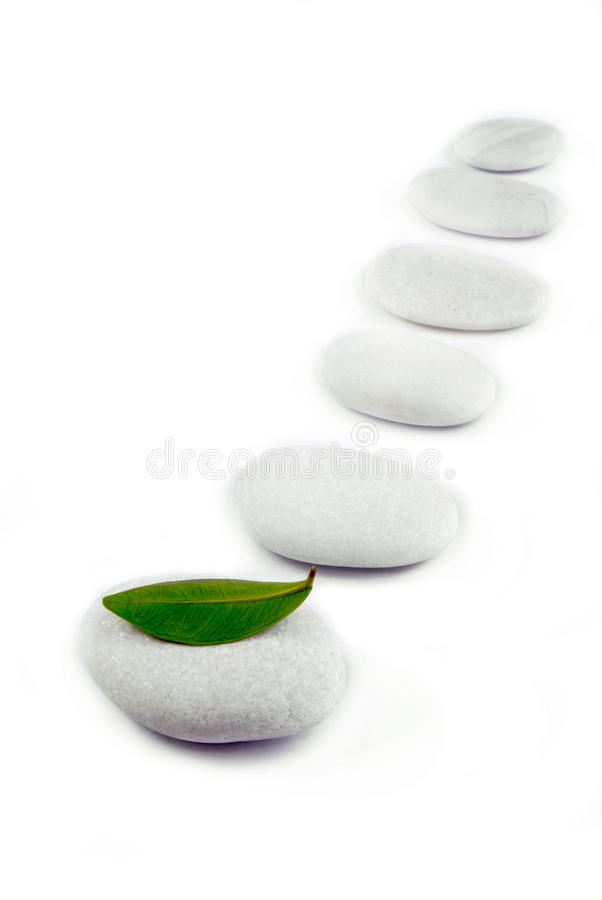 White stone pebble zen path. Isolated on white royalty free stock photos