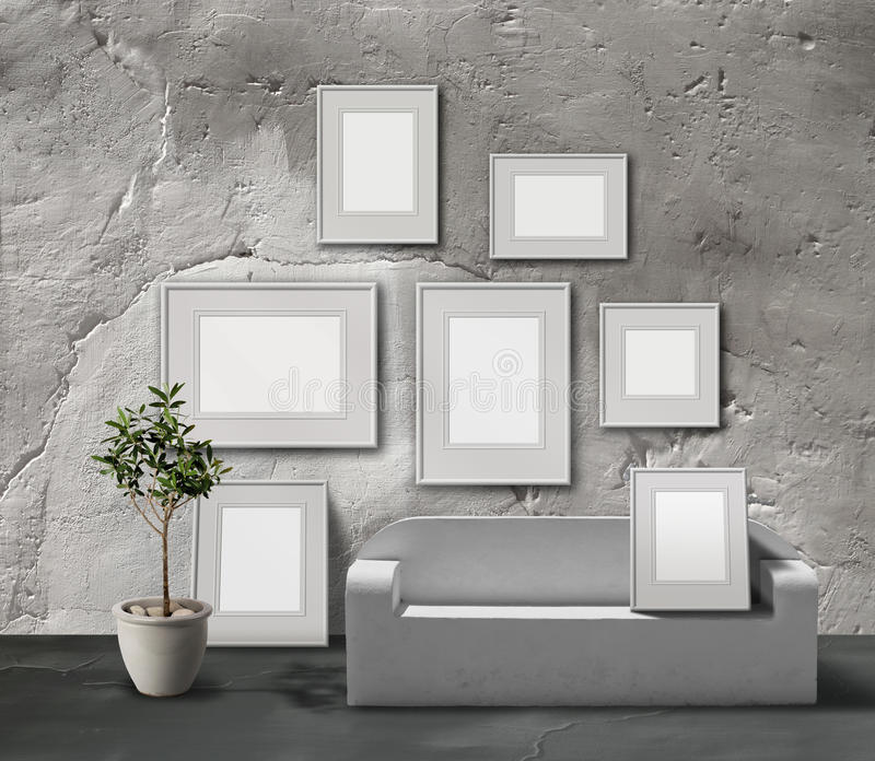 White stone picture gallery stock illustration