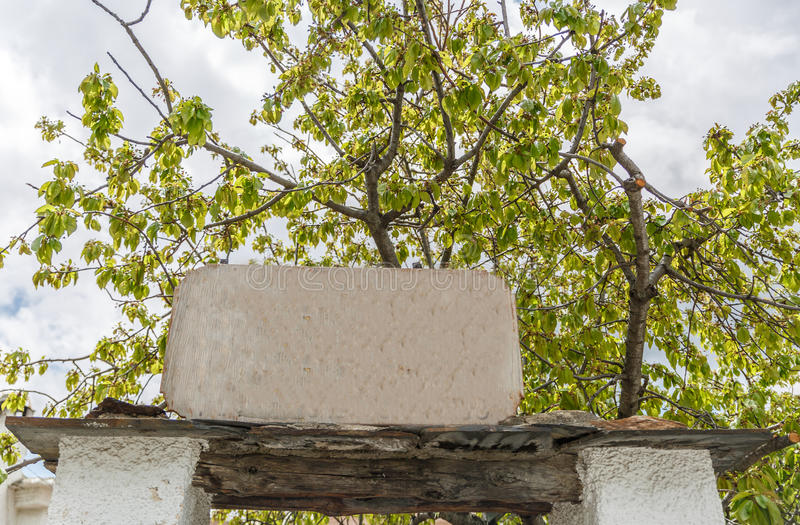 White stone signboard with a tree in the background royalty free stock image
