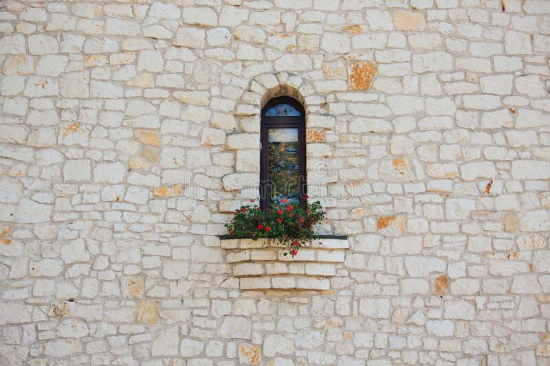 White Stone Wall With Flower Box In Window Free Public Domain Cc0 Image
