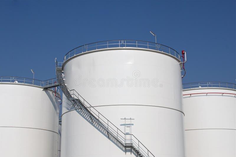 White storage tanks stock photography
