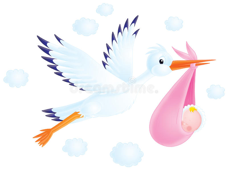 White stork delivers a newborn to his parents stock illustration