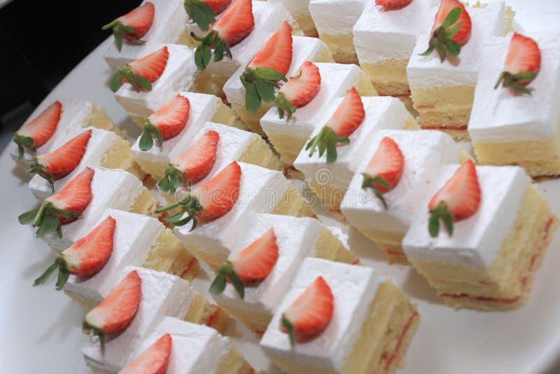 White Strawberry Cakes royalty free stock photos
