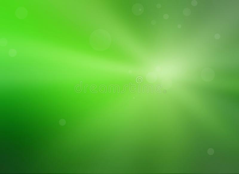 White sunshine or sun rays shining on fresh lime green background with blurred bokeh lights or bubbles floating in random pattern vector illustration