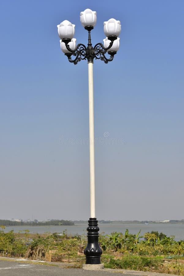 White street lamp,outdoor lamp,street light,street lighting,road lamp. Magnolia flower shape outdoor lamp,White street lamp,street light,street lighting,road stock images