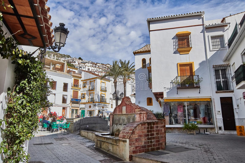 White streets of Ojen, Malaga, Spain. Ojen is a town and municipality in the province of Málaga, part of the autonomous community of Andalusia in southern royalty free stock images