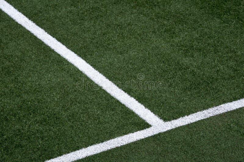 White stripe on the soccer field stock photo