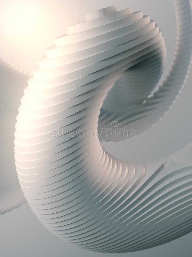White striped futuristic pattern surrounded by light mist. Computer generated geometric shape. 3d render illustration stock illustration