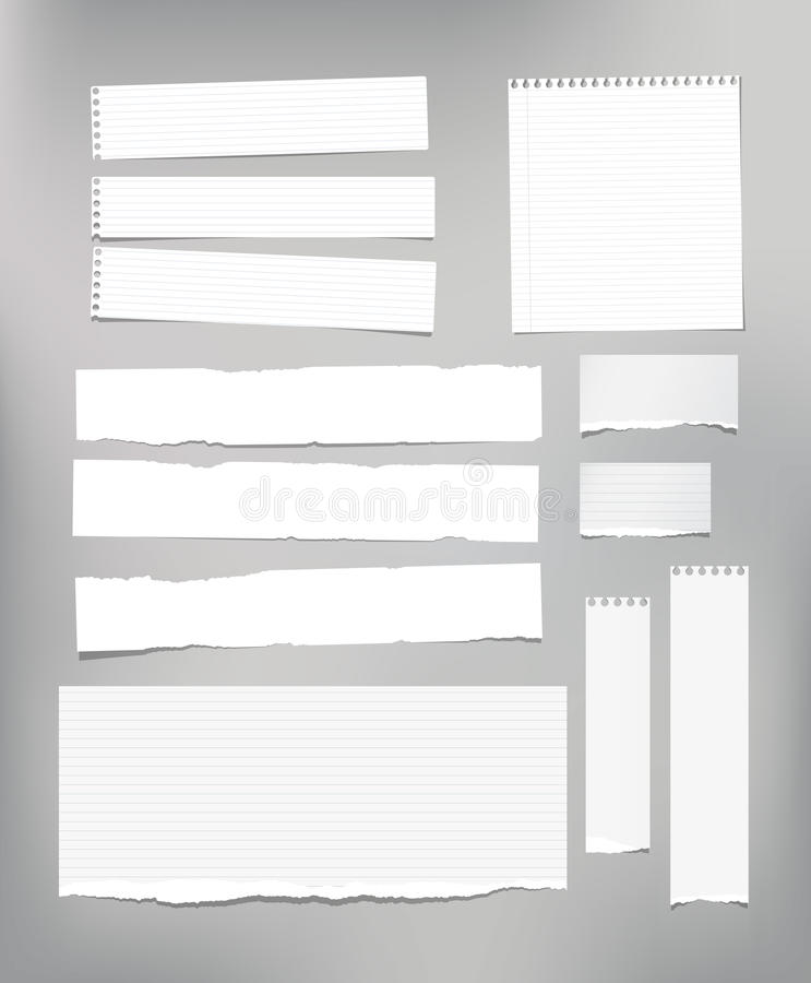 White striped note paper, copybook, notebook sheet stuck on light gray background. White striped note paper, copybook, notebook sheet stuck on light gray stock illustration